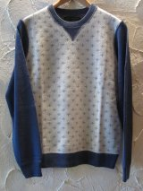 ☆SALE 50%OFF☆ A GOODTIME PRODUCTION/KNIT V GUSSET SUCIDAL CROSS JACQUARD WHTxNAVY