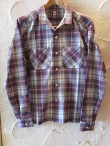 (SALE 40%OFF) BELAFONTE/CHECK OPEN SHIRTS  BURGUNDY