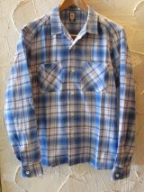 (SALE 40%OFF) BELAFONTE/CHECK OPEN SHIRTS  BLUE