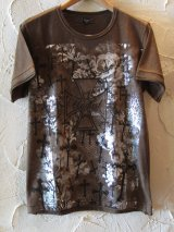 ☆SALE 65%OFF☆ UNIFIED/IRON CROSS 銀箔 PRINT TEE BROWN