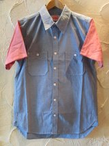 ☆50%OFF☆ ROUND HOUSE/2 TONE DUNGAREE SHIRTS  BLUExRED