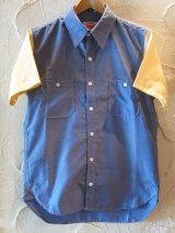 ☆50%OFF☆ ROUND HOUSE/2 TONE DUNGAREE SHIRTS  NAVYxYELLOW