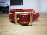 (SALE 40%OFF) QUITTER/LEATHER WRISTBAND  RED