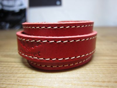 画像2: (SALE 40%OFF) QUITTER/LEATHER WRISTBAND  RED