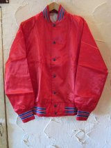 SPORTS MASTER/SATIN BASEBALL JKT  REDxBLUE