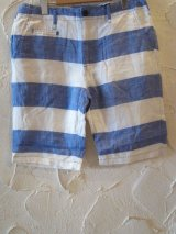(SALE 40%OFF) PAN HARD/RAMIE BORDER SHORTS  BLUE