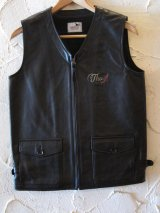 GANGSTERVILLE ギャングスタービル/THUG VEST COWHIDE  BLACK
