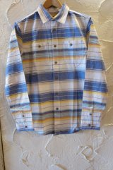 (SALE 40%OFF) VINTAGE EL/NATIVE BORDER SHIRTS  BLUE