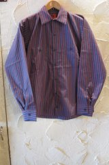 RED KAP/REMAKE STRIPE WORK SHIRTS  NAVYxBURGUNDY