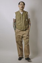 (SALE 30%OFF) BELAFOTE/RT PIPING VEST N-1  KHAKI