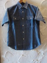 SUGAR CANE/BLUE CHAMBRAY S/S WORK SHIRTS  NAVY