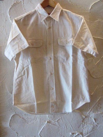 画像1: SUGAR CANE/WHITE CHAMBRAY S/S WORK SHIRTS WHITE(OFF)