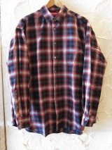 (SALE 35%OFF) BONES AND BOLTS/O.D L/S SH OMBRE CHECK  RED