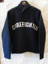 (DEAD STOCK) COREFIGHTER/SHAWLL COLLAR KNIT  BLACK