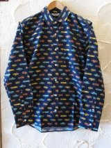 VINTAGE EL/SHEETING CAR L/S SHIRTS  NAVY