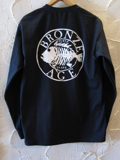 画像1: BRONZE AGE/PRINT LONG T LOGO  BLACK