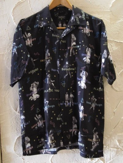 画像1: (再入荷) VINTAGE EL/POP ALOHA SHIRTS  BLACK