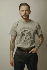 (SALE 25%OFF) BELAFOTE/RT LONESOME TOWN HIGH PRINT T  GRAY