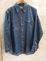 (SALE 30%OFF) VINTAGE EL/ASYMMENTLY DENIM SHIRTS  BLUE