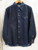 (SALE 30%OFF) VINTAGE EL/ASYMMENTLY DENIM SHIRTS  NAVY