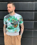 BELAFOTE/RT HAWAIIAN SWEAT PLAY SHIRT  GREEN
