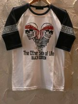 ☆SALE 50%OFF☆ BLACK EDITION/SKULL RAGLAN T 五分丈  WHITE