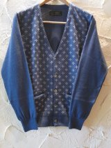 ☆SALE 50%OFF☆ A GOODTIME PRODUCTION/KNIT CARDIGAN SUCIDAL CROSS JACQUARD NAVY